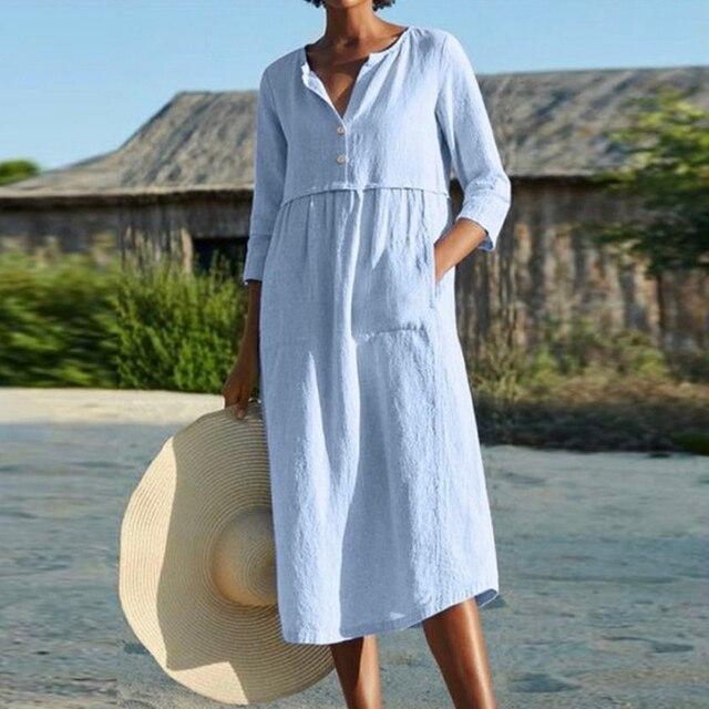 Linen Summer Dress Women Three Quarter Casual Pocket Woman Dress Solid A-Line Ruffles Dresses for Women 2021 robe femme 1