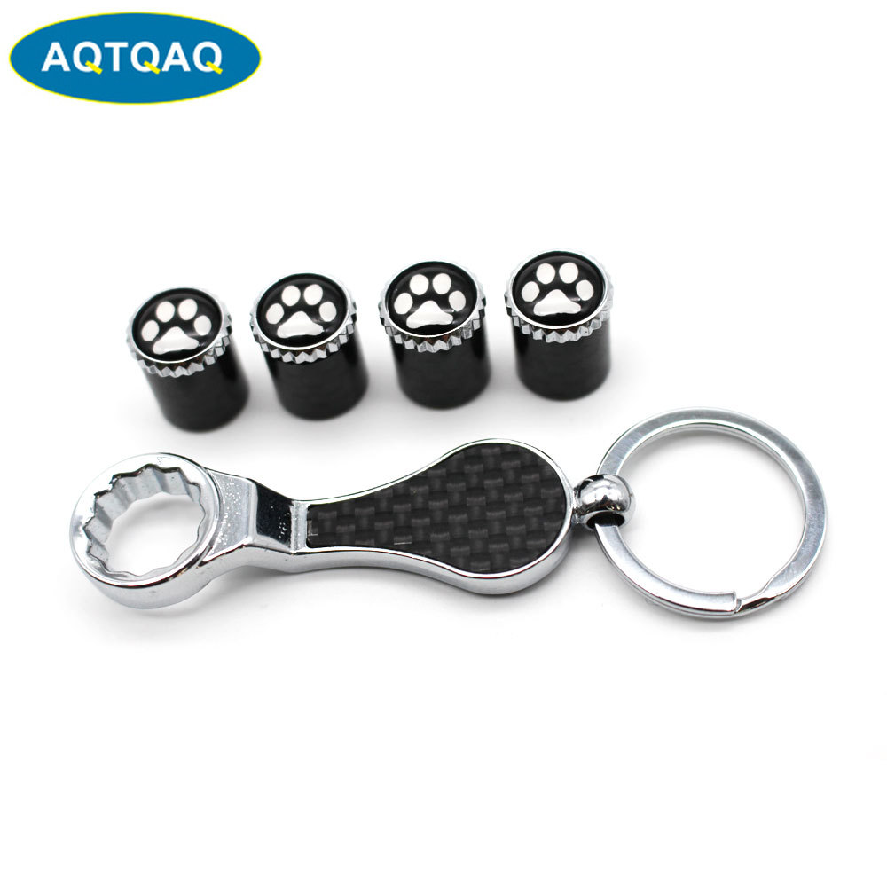 Car Accessories Tire Valve Caps Valve Dust Covers Wrench Keychain For Chevrolet