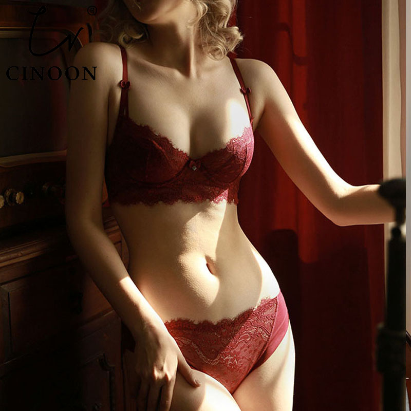 CINOON New Top Underwear Set Lace Sexy Push-up Bra And Panty Sets Embroidery Lace Lingerie Sets Plus Size Bra Women Lingerie