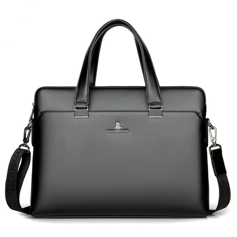 2019 Men's Business Briefcase Dress Laptop Bag Pu Leather Briefcase Male Tote Bags Black High Quality Male Office Large Capacity
