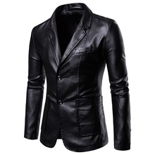 Leather Jacket Men Spring and Autumn 2020 New Men's Fashion PU Suit Collar Slim Casual