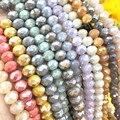 TTBEADS 6x4 мм цвет усеяны искусственными драгоценными камнями; Rondell бусины колесо граненые стеклянные бусины для самостоятельного изготовлени...
