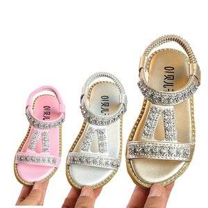 Sandalias de cristal para niñas pequeñas, zapatos de princesa para niñas pequeñas, sandalias de playa con diamantes de imitación de 1, 2, 4, 5, 6 años, novedad de verano