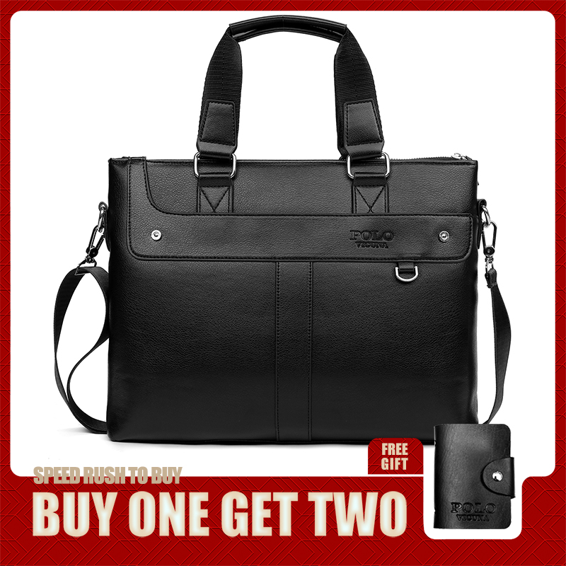 VICUNA POLO Simple Patchwork Leather Men's Handbag OL Office Business Mens Briefcase Bag Classic Design Side Shoulder Bag