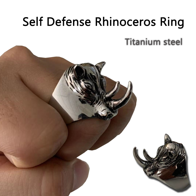 Titanium Steel Personal Rhinoceros Self Defense Ring Unisex Punk Anti-wolf Finger Ring Vintage Wolf Rings Gift Safety Tool