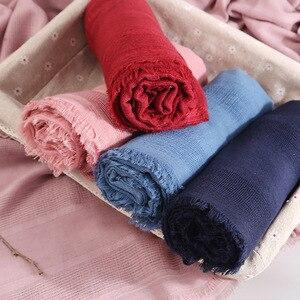 Image 3 - 2020 moda designer primavera oco linho & algodão cachecol feminino cor sólida muçulmano vermelho preto hijab cachecóis cabeça lenço de cabelo xales