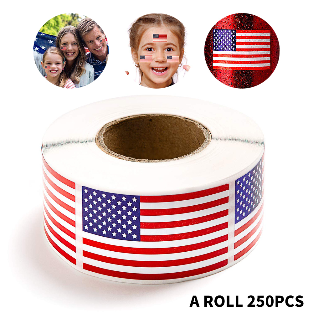 50-250 Pcs American Flag Stickers USA Patriotic Sticker For Notebooks Cards And Scrapbooking Office