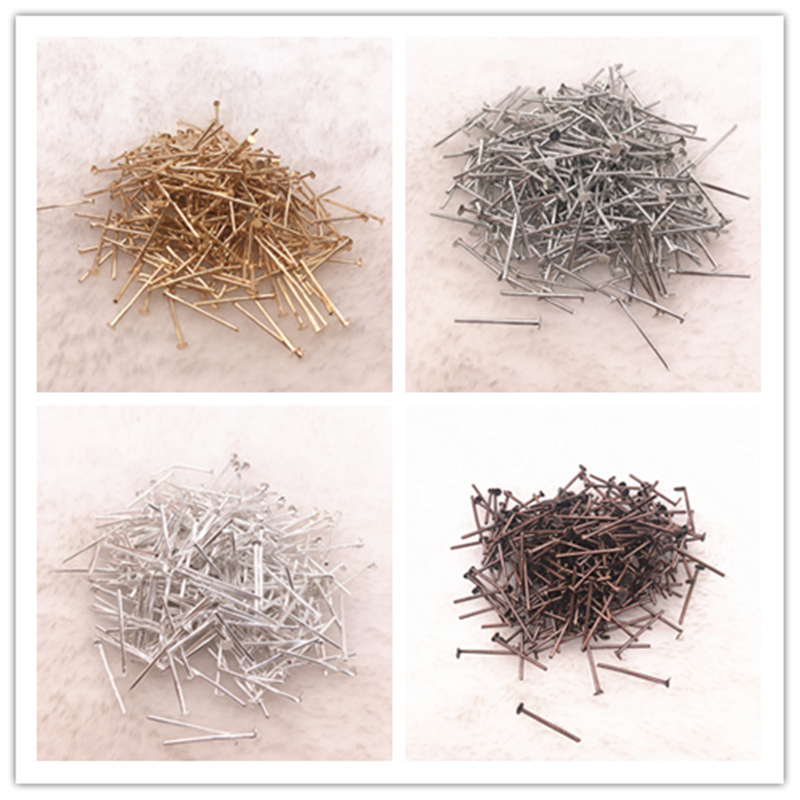 100-300pcs/lot 16/20/22/30mm Flat Head Pins Dia 0.6-0.8mm Gold/Silver/Bronze Head Pins For Jewelry Making Accessories