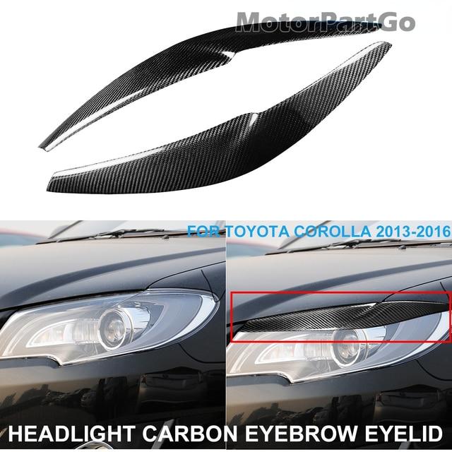 Real Crabon Fiber Head light Eyelid Eyebrow Cover Trim 1pair for  Toyota Corolla 2013-2016  T228 1
