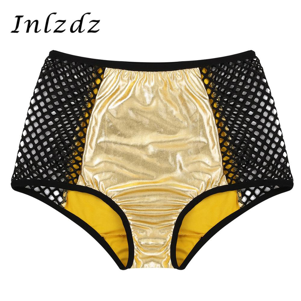 Women Ladies Pole Dance Shorts Shiny Metallic High Waist Fishnet Patchwork Underwear For Dancing Raves Festivals Costumes