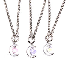 1PCS Fashion Hollow Moon Crystal Heart Clavicle Chain Necklace Choker Jewelry Gift New Arrived(China)