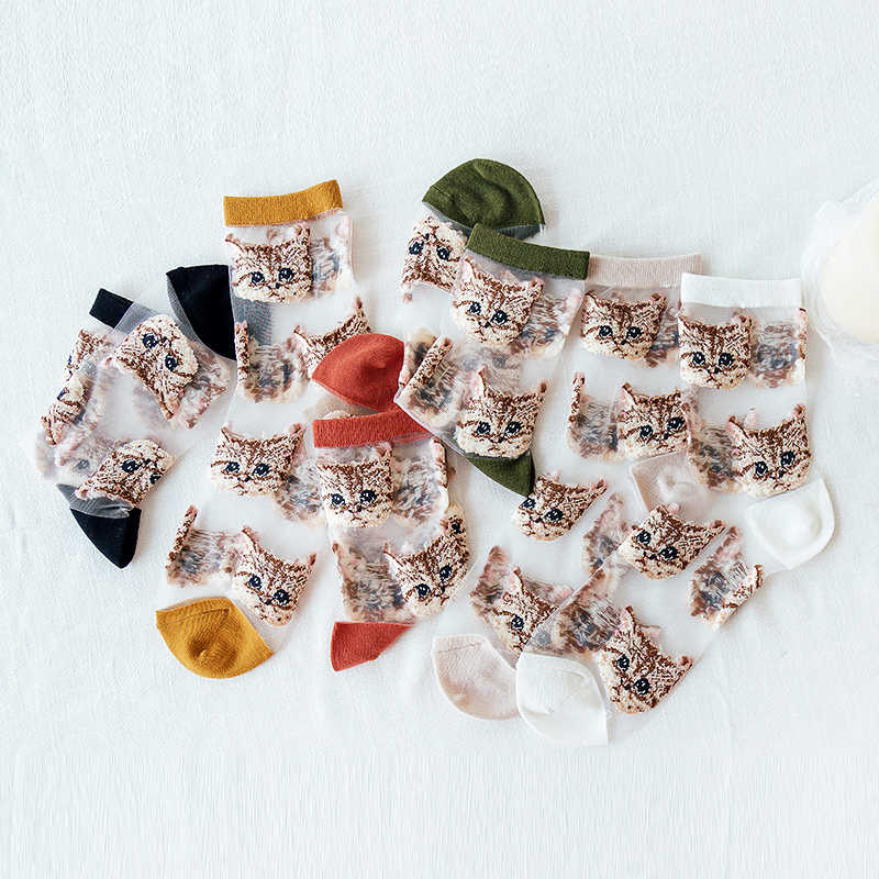 여성 메쉬 섹시한 반짝이 짧은 레이디 양말 동물 자수 고양이 양말 여름 카와이 투명 유리 실크 코튼 얇은 양말 여성