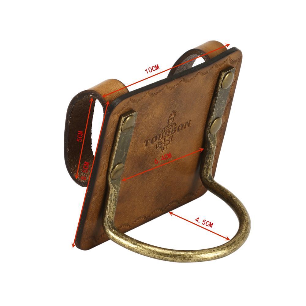 Tourbon caça caseiro couro genuíno resistente aço loop martelo titular para cinto slot coldre