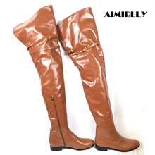 Knee-Boots Flat-Heel-Shoes Brown Women Ladies Short Thigh Zipper Winter Fashion Customized-Support