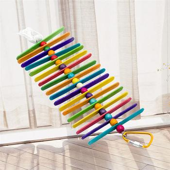 Colorful Ladder Bird Toy Cage Accessories Flexible Bite String Ladders Wooden Rainbow Bridge for Parrots Trainning 3
