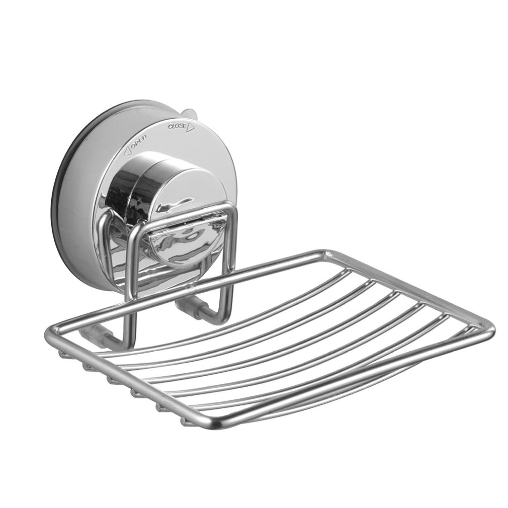 Stainless Steel Suction Cup Soap Dish Box Drain Soap Tray Bathroom Kitchen Free Hole Professional Fashion