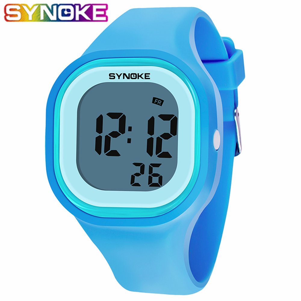 SYNOKE 2019 New Arrival Colorful Fashion Kids Children Girl Boy Watches Wrist Clock Silicone LED Light Digital WristWatches Girl