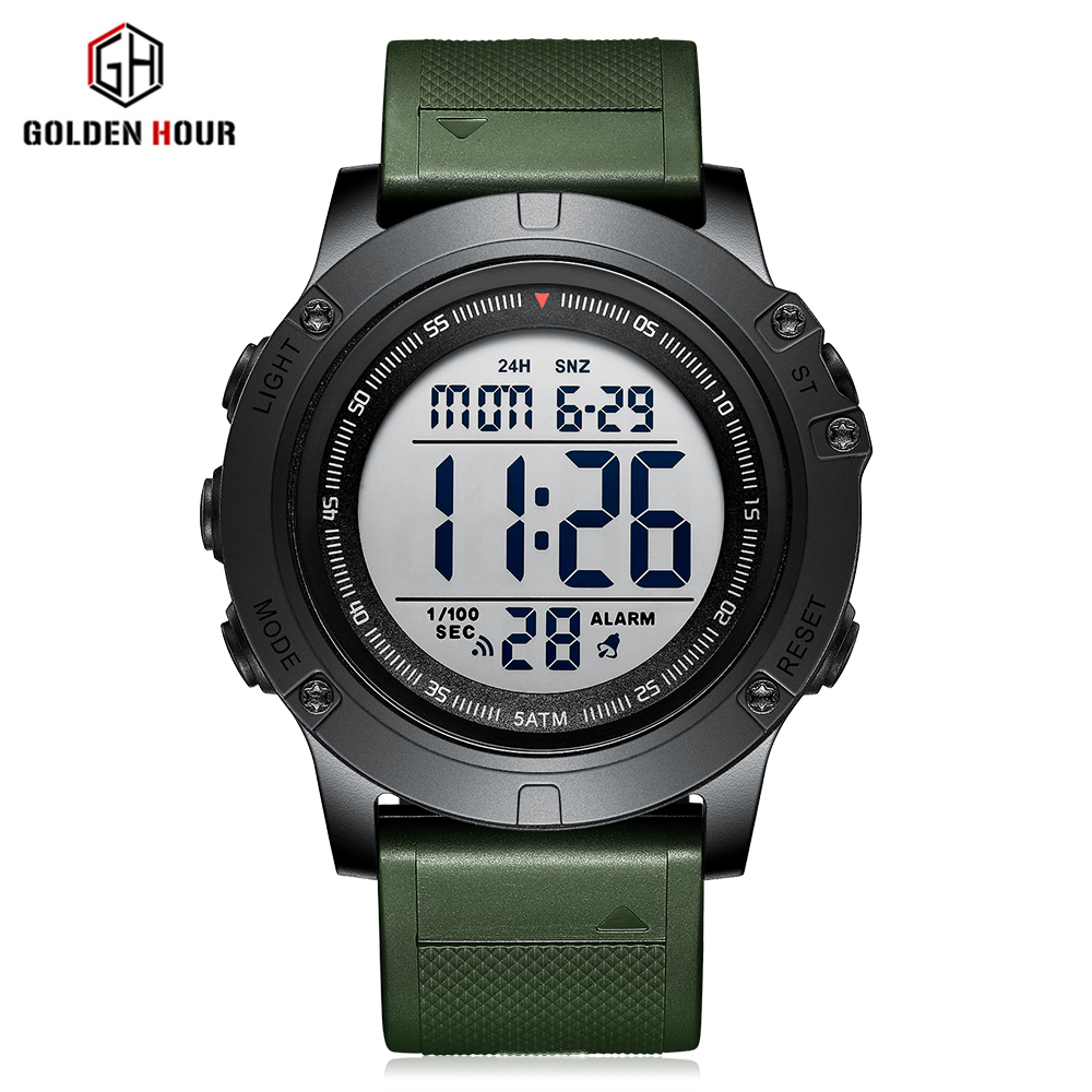 GOLDENHOUR Men Fashion Digital Watch Multifunction Sports Waterproof Wristwatch LED Chronograph Casual Clock Relogio Masculino