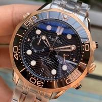Luxury Brand New Men Japanese Quartz Diver Black Rose Gold Blue James Bond 007 Blue Ceramic Bezel Sapphire Master Watches 44MM