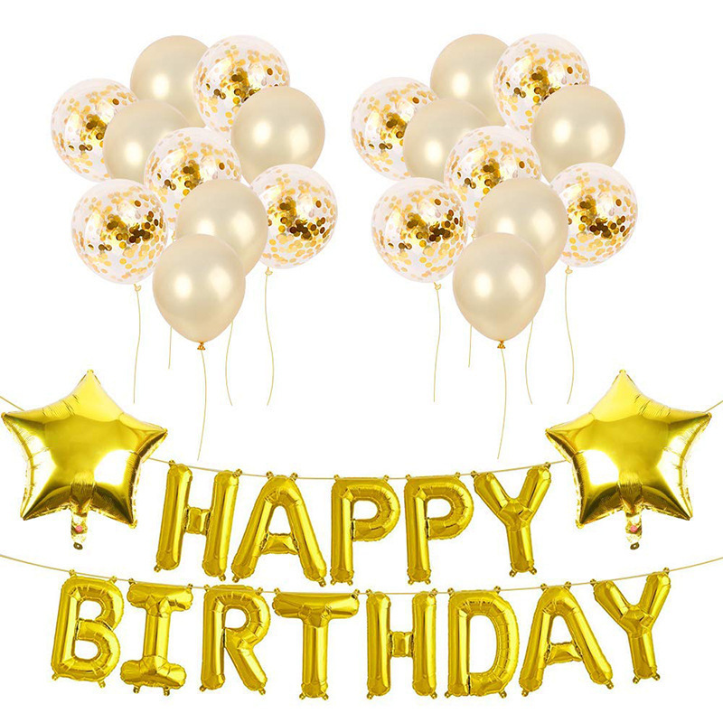Happy Birthday Digital Aluminum Balloon Is Suitable For Adults And Children's Birthday Party Background Decoration Suit