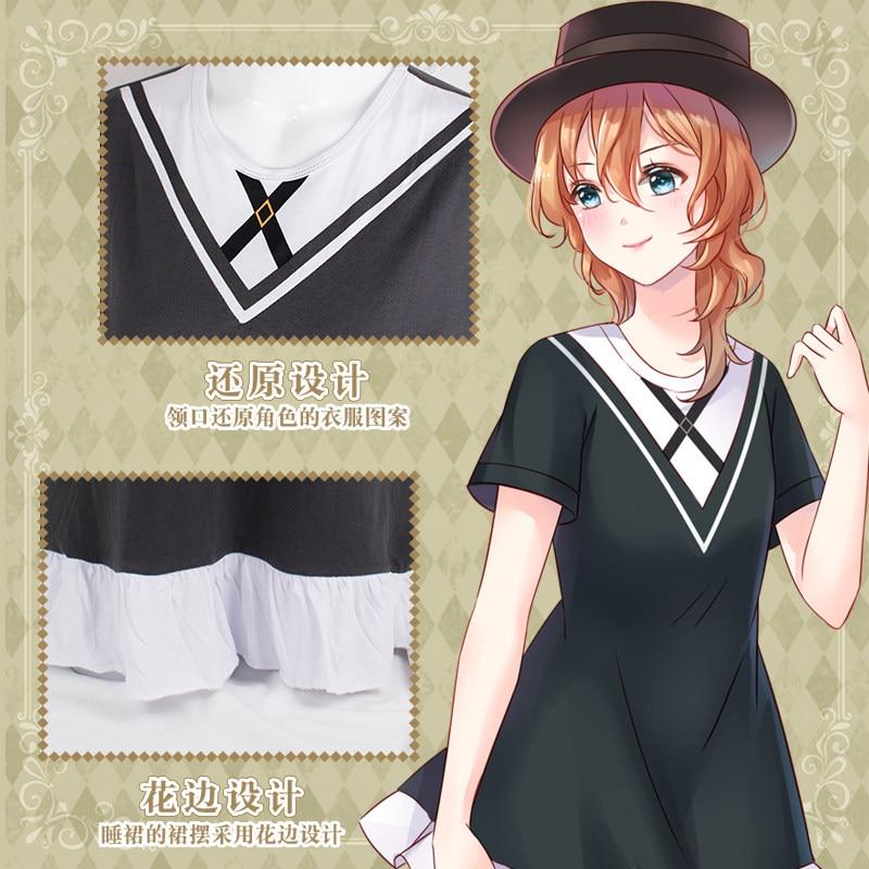 Anime Bungou Stray Dogs Dazai osamu Nakahara Chuya Cosplay Sleepwear Dress Lolita Girl Summer Nightdress 1