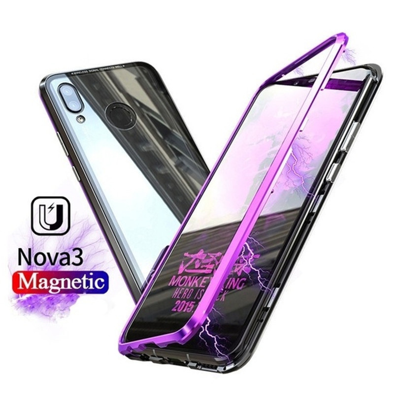 For huawei p20 lite magnetic metal case Back sided 9H Tempered Glass Case for nova 3 3i Metal Bumper Arc frame