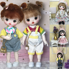 17cm Mohair BJD Doll 12 Movable Joints Cute Face DIY Bjd Dolls With Big Eyes Bjd Toys Gifts For Girl Handmand Make UP Bag Toy