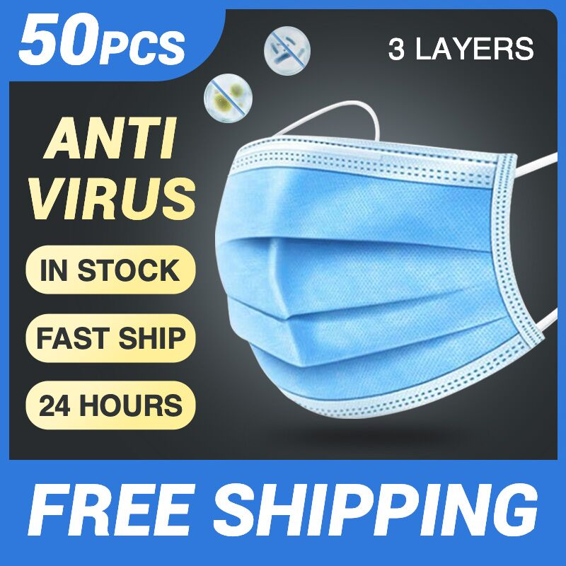 Disposable Mask Face Mask Mouth Masks 50 Pcs 3-Ply Protective Safety Mask Anti-Pollution Anti-Dust Nonwoven Elastic Earloop Mask