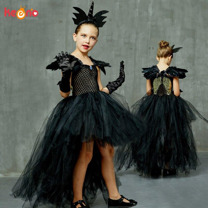 Black Dark Angel Girls Tutu Dress V-neck Train Girls Pageant Evening Party Ball Gown Fancy Dresses Kids Halloween Witch Costume 1