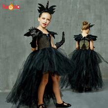 Black Dark Angel Girls Tutu Dress V-neck Train Girls Pageant Evening Party Ball Gown Fancy Dresses Kids Halloween Witch Costume rockstar queen girls dress train fancy tutu dress christmas halloween cosplay costume kids party pageant performance tulle dress
