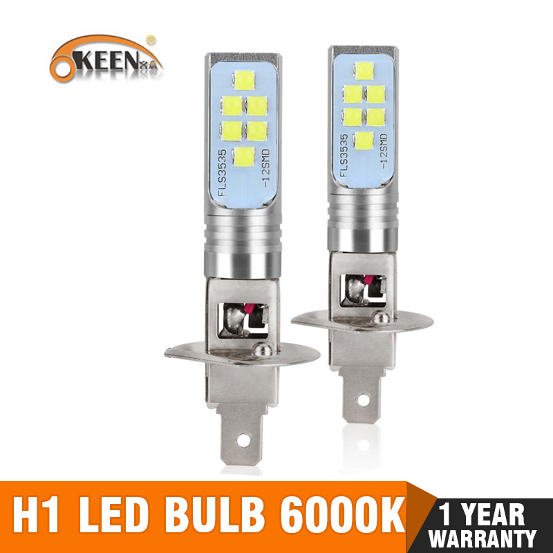 2Pcs <font><b>H1</b></font> <font><b>LED</b></font> Bulb Super Bright 12 3535SMD Car Fog Lights Blub for Auto 12V 24V 6000K White Driving Day Running <font><b>Lamp</b></font> Auto image