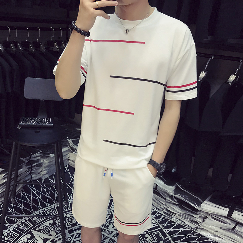 Summer Men Simple Short Sleeve Korean-style Casual Sports Shorts Youth Slim Fit Shorts T-shirt Two-Piece Set Trend