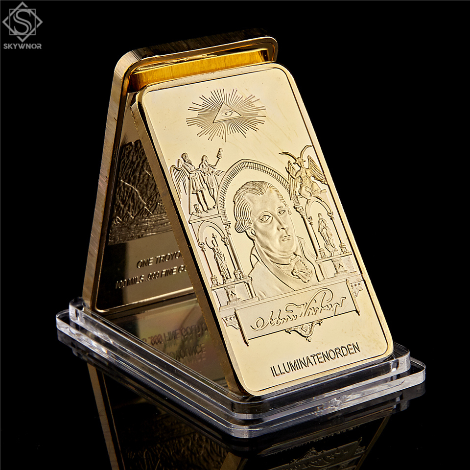 1776 Masonic Novus Ordo Seclorum Freemasonry Illuminati Symbol Rare 24kt Replica .999 Gold Bullion Bar|Non-currency Coins|   - AliExpress