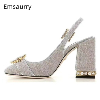 Crystal Buckle Belt Decor Banquet Shoes Woman Jeweled Diamond Chunky Heel Round Toes Back Strap High Heel Pumps Women