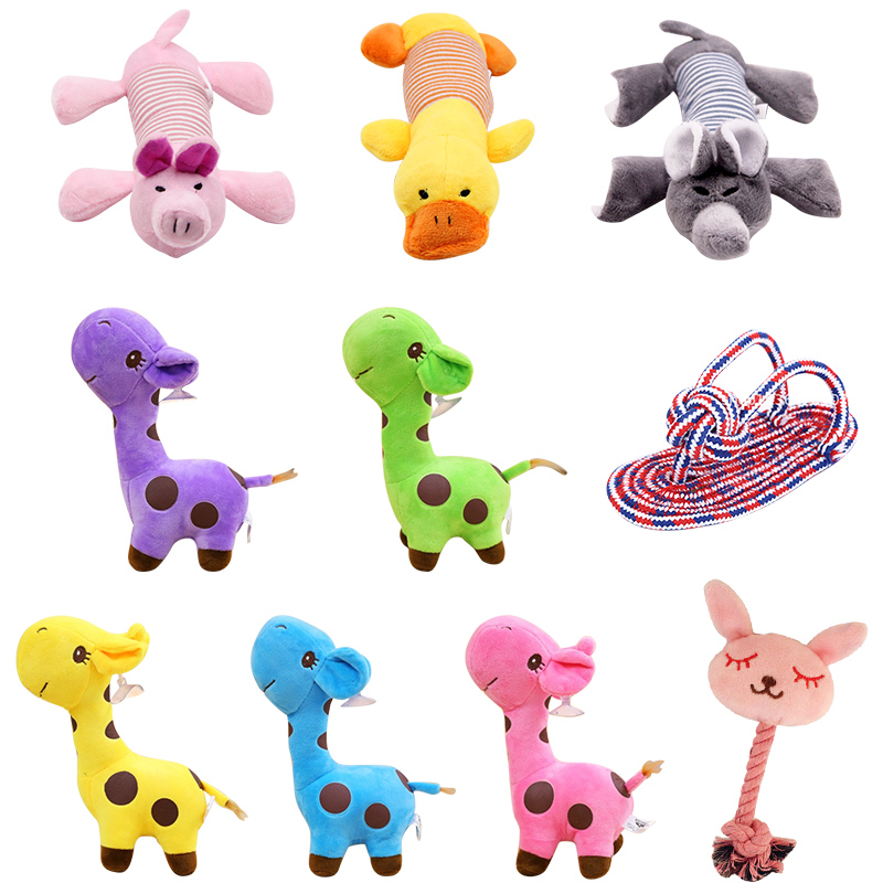 Pet Plush Dog Toys Pet Dog Chew Toys Squeak Sound Dog Toy Funny Fleece Durability Chew Molar Toy Fit For All Pets Elephant Duck