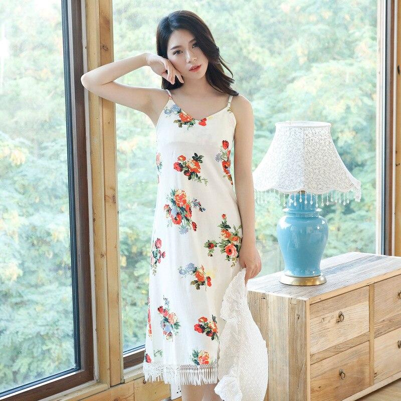 Korean Women Sleepwear Summer Floral Nightwear Sleepdress Sexy Nightdress Sexi Night Nighty Sleeping Dress Nightgown Negligee