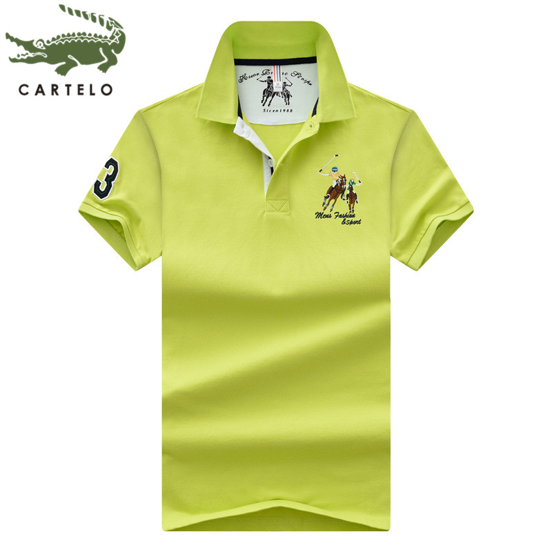 CARTELO Men's Clothing New Summer Fashion Comfortable Breathable Dynamic Solid Color Embroidery Men's Polo Shirt