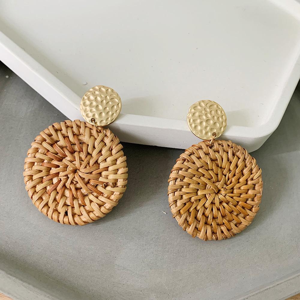 Bohemian Wicker Rattan Knit Pendant Earrings Handmade Wood Vine Weave Geometry Round Statement Long Earrings for Women Jewelry 9