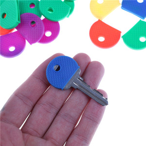 10pcs Bright Colors Hollow Multi Color Rubber Soft Keys Locks Cap Key Covers Topper Keyring Elastic Case Round Soft Silicone