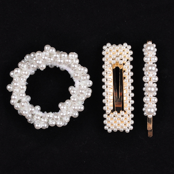 14 Colors Woman Elegant Pearl Hair Ties Beads Girls Scrunchies Rubber Bands Ponytail Holders Hair Accessories Elastic Hair Band 26