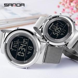 Image 3 - 2019 SINDA marque de mode en acier maille bande de luxe Couple robe Quartz montre bracelet amoureux Simple décontracté orologi coppia