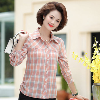 Autumn Spring Middle Aged Women Plaid Shirt Pink Yellow Blue Cotton Top Mother Casual Long Sleeve Turn Down Collar Clothings 4XL damaizhang yellow 4xl