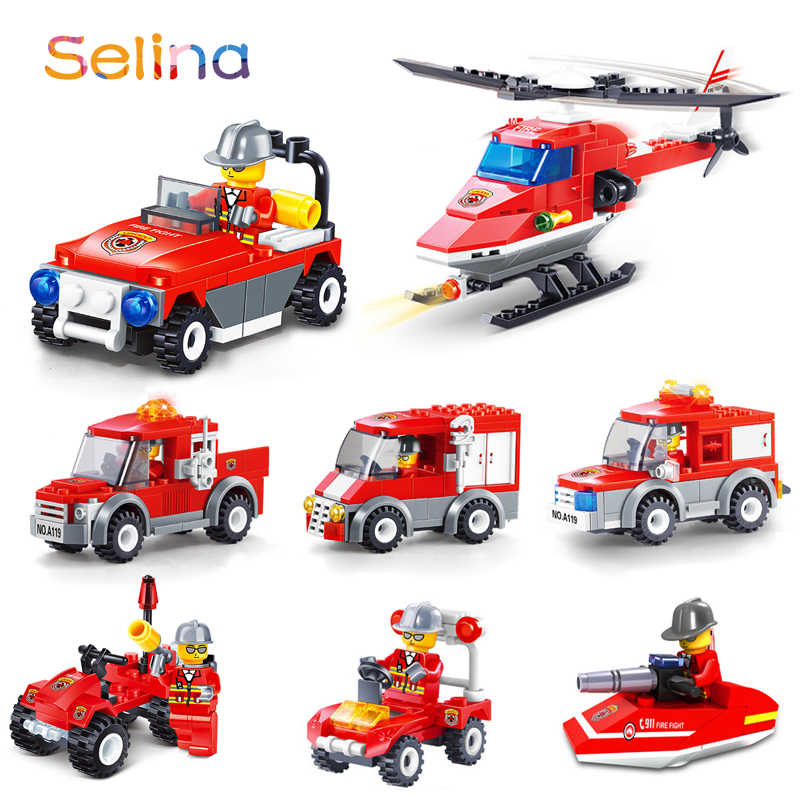 City Fire Station Car Fire Car Ship Boat Truck Building Blocks Kit Figures Fireman Model Bricks Education Toys Compatible