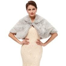 Gray Wedding Shawl Women Fur Bolero Evening Cape Dress Women Shrug Adults Formal Jackets Winter Wedding Shawl Fur Cloak 2020