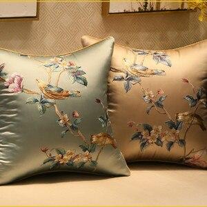 DUNXDECO Наволочка декоративная наволочка Современная свежая птица Флора Элегантная вышивка Coussin диван стул наволочка