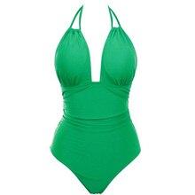 TYAKKVE Bikini 2019 One-piece Swimsuit Deep V Vintage Backless Ladies Bathing Suit Tummy Control Plus Size Swimwear Women S-XXXL