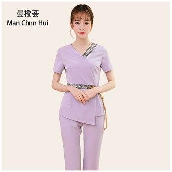 Thai Spa Clothing  Elegant Women Work Suit Hotel Front Desk Uniform Beauty Salon Nurse Uniforms beautician clothing