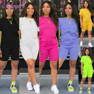 Women Tracksuit T-Shirt Short-Pants Joggers Matching-Set Crop-Tops Sportwear Fitness