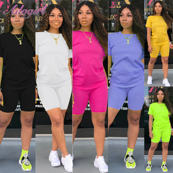 Women Summer Two Piece Set Solid Short Sleeve Crop Tops T-Shirt Bilkers Pants Suit Set New Female Joggers Sport Outfit Tracksuit tracksuit summer women set casual soild bikers short sleeve zipper crop tops t shirt pants suit two piece set female joggers