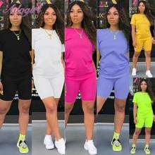 Women Tracksuit 2 Piece Set Solid Short Sleeve Crop Tops T-S